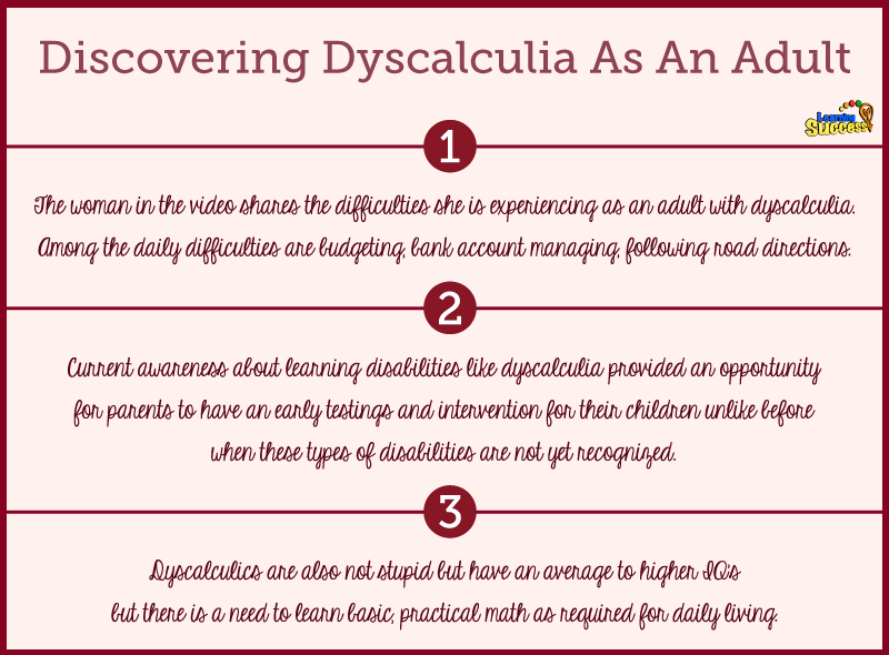 Dyscalculia in adults